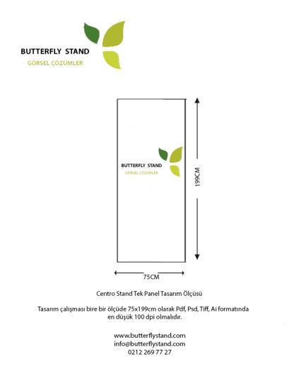 Centro stand 1 panel tasarım ölçüsü