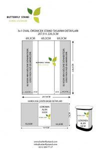 örümcek stand oval 3x1 tasarım ölçüsü